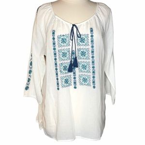 Vintage America Embroidered Boho Peasant Top Sz L